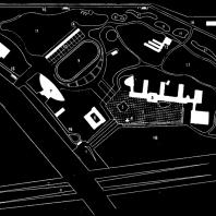 Генеральный план комплекса Дворца пионеров: 1 — главный вход; 2 — площадь парадов; 3 — место пионерского костра; 4 — флагшток; 5 — главное здание с концертным залом; 6 — спортивный корпус; 7 — крытый спортивный манеж; 8 — крытый плавательный бассейн; 9 — стадион; 10 — спортивный павильон стадиона; 11 — каскад прудов; 12 — зона аттракционов; 13 — корпус юных натуралистов с оранжереей; 14 — хозяйственный блок; 15 — зеленый театр; 16 — кольцевая автодорога; 17 — зона юных натуралистов; 18 — зеленый партер для