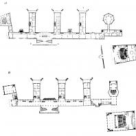 Московский Дворец пионеров. План первого этажа главного здания: а — конкурсный проект; б — проектное задание