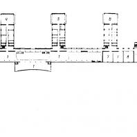Московский Дворец пионеров. План второго этажа: 1 — выставочные залы; 2 — планетарий; 3 — фойе аудитории; 4 — студия живописи; 5 — зал авиамоделистов; 6 — съемочный павильон фото-киностудии; 7 — залы для хоровых занятий; 8 — хореографические залы; 9 — фойе концертного зала