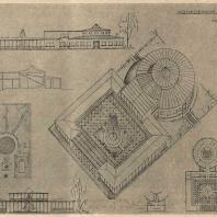 Рис. 23. Проект колхозного клуба с залом на 100 чел. (вариант А). Архитектор Р.Я. Хигер