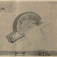 Рис. 25. Проект колхозного клуба с залом на 200 чел. (вариант Б). Архитектор Р.Я. Хигер