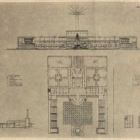Рис. 28. Проект колхозного клуба с залом на 300 чел. (вариант В). Архитектор Р.Я. Хигер