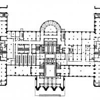 Гостиница «Украина» на Дорогомиловской набережной. План первого этажа: 1 — вестибюль; 2 — главный вестибюль (операционный холл); 3 — бюро обслуживания; 4 — почта, телеграф; 5 — сберкасса; 6 — ручной багаж; 7 — аванзал; 8 — гостиная; 9 — библиотека, 10 — ресторан; 11 — боковой вестибюль; 12 — банкетный зал; 13 — раздаточная; 14 — горячий цех; 15 — мойка кухонной посуды; 16 — мойка столовой посуды; 17 — сервировочная; 18 — буфет; 19 — хлеборезка, 20 — вино; 21 — столовая персонала; 22 — кафе; 23 — кафетерий;