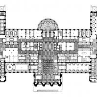 Гостиница «Украина» на Дорогомиловской набережной. Сводный план 1-го и 2-го этажей: 1 — вестибюль; 2 — главный вестибюль (операционный холл); 3 — аванзал; 4 — гостиная; 5 — библиотека; 6 — ресторан; 7 — боковой вестибюль; 8 — банкетный зал; 9 — кафе; 10 — кафетерий; 11 — биллиардная;. 12 — зимний сад; 13 — бюро внутреннего обслуживания; 14 — центральная бельевая; 15 — служебные помещения; 16 — пожарная аппаратура; 17 — мужская парикмахерская; 18 — дамская парикмахерская