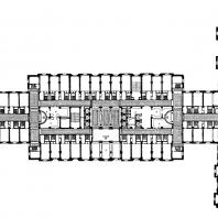 Гостиница «Украина» на Дорогомиловской набережной. План типового этажа: 1 — лифтовый холл; 2 — гостиная; 3 — буфет; 4 — инвентарная; 5 — бельевая; 6 — обслуживающий персонал; 7 - служебная