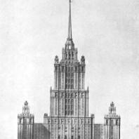 Главный фасад здания на Дорогомиловской набережной. Эскиз