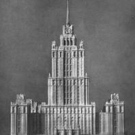 Главный фасад здания на Дорогомиловской набережной (первоначальный вариант)