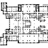 Гостиница «Ленинградская» на Комсомольской площади. План первого этажа: 1 — вестибюль; 2 — гардероб, хранение багажа; 3 — бюро обслуживания; 4 — администратор; 5 — главный вестибюль (операционный холл); 6 — гостиница; 7 — почта, телеграф, сберкасса; 8 — вестибюль ресторана; 9 — гардероб; 10 — аванзал; 11 — ресторан; 12 — биллиардная; 13 — кафетерий; 14 — раздаточная; 15 — горячий цех; 16 — сервировочная; 17 — бельевая; 18 — мойка столовой посуды; 19 — кофейный буфет; 20 — холодный цех; 21 — рыбный цех; 22 —