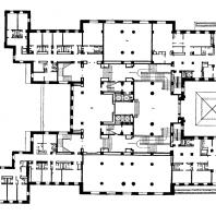 Гостиница «Ленинградская» на Комсомольской площади. План антресольного этажа: 1 — второй свет, 2 — центральная гостиная
