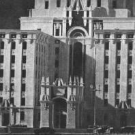 Фрагмент нижнего объёма здания гостиницы «Ленинградская» на Комсомольской площади. Модель