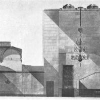 Операционный зал. Портал лифтового холла здания гостиницы «Ленинградская» на Комсомольской площади. Эскиз