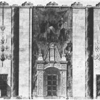 Разрез по главному вестибюлю и операционному залу здания гостиницы «Ленинградская» на Комсомольской площади. Эскиз