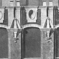 Фрагмент бокового фасада. Архитектурные детали окон ресторана здания гостиницы «Ленинградская» на Комсомольской площади