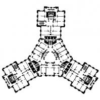Жилой дом на Котельнической набережной. План типового этажа