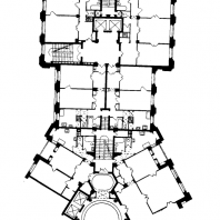 Жилой дом на Котельнической набережной. Фрагмент плана типового этажа