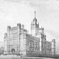 Перспективный вид комплекса здания на Котельнической набережной со стороны Интернациональной улицы
