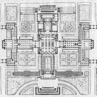 Московский Государственный Университет им. Ломоносова. Сводный план главного корпуса в уровне 2-го этажа