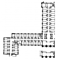 Московский Государственный Университет им. Ломоносова. Фрагмент плана типового этажа общежития студентов
