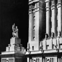 Московский Государственный Университет им. Ломоносова. Фрагмент фасада центральной части здания университета. Модель