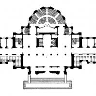 Административное здание у Красных ворот. План 1-го этажа: 1 — главный вестибюль; 2 — зал собраний; 3 — боковой, вестибюль
