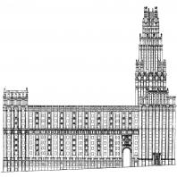 Административное здание у Красных ворот. Боковой фасад здания (первоначальный вариант)