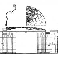 Административное здание у Красных ворот. Вестибюль станции метро. Разрез