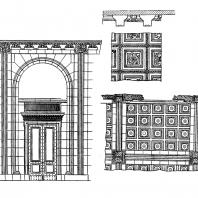 Административное здание у Красных ворот. Главный вестибюль. Фрагмент стены и плафона