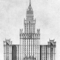 Главный фасад здания на площади Красные ворота (окончательный вариант)
