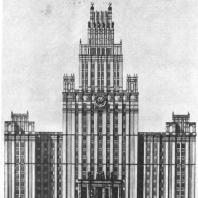 Главный фасад здания на площади Красные ворота (первоначальный вариант)