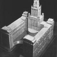 Общий вид здания на площади Красные ворота со стороны двора. Модель