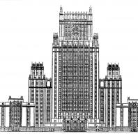 Административное здание на Смоленской площади. Главный фасад (первоначальный вариант)