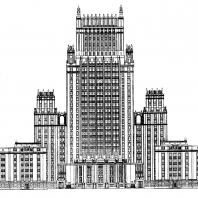 Административное здание на Смоленской площади. Дворовый фасад (первоначальный вариант)