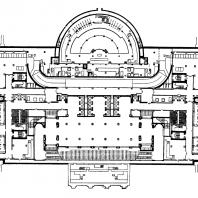 Административное здание на Смоленской площади. План цокольного этажа: 1 — нижний вестибюль; 2 — гардероб