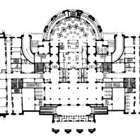 Административное здание на Смоленской площади. План 1-го этажа: 1 — вестибюль; 2 - почта и телеграф; 3 — отделения банка и сберкассы; 4 — обеденный зал; 5 — кухня