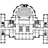 Административное здание на Смоленской площади. План 2-го этажа: 1 — зал собраний; 2 - фойе; 3 — холл