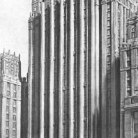 Фрагмент главного фасада здания на Смоленской площади. Модель