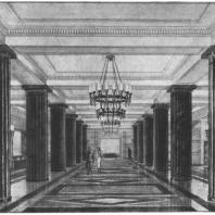 Вестибюль гардеробной цокольного этажа здания на Смоленской площади. Эскиз