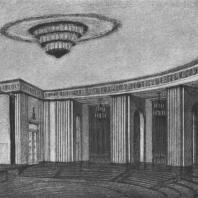 Перспективный вид зала собраний здания на Смоленской площади. Эскиз