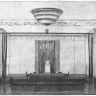 Перспективный вид зала собраний в сторону эстрады в здании на Смоленской площади. Эскиз