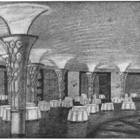 Ресторан-столовая здания на Смоленской площади. Перспектива. Эскиз