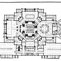 Административное здание в Зарядье. План 2-го подвального этажа: 1 — автостоянка; 2 — книгохранилище; 3 — хозяйственный двор