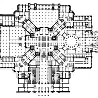 Административное здание в Зарядье. План 1-го подвального этажа