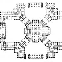 Административное здание в Зарядье. План 1-го этажа: 1 — вестибюль высотной части здания; 2 — вестибюль 5-этажного корпуса; 3 — вестибюль зала собраний
