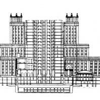 Административное здание в Зарядье. Продольный разрез