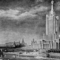 Вид на здание в Зарядье с противоположного берега Москвы-реки. Эскиз