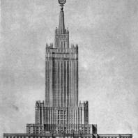 Фасад здания в Зарядье со стороны Красной площади