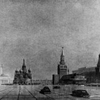 Перспективный вид здания в Зарядье со стороны Красной площади. Эскиз