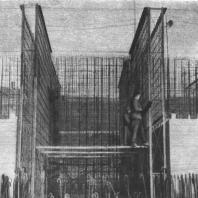 Арматурные стеновые блоки формируют коробчатый фундамент (гостиница в Дорогомилове)