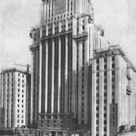 Высотное здание на Смоленской площади. Основной объем здания закончен облицовкой