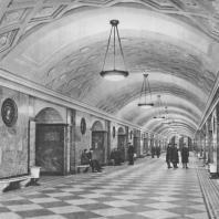 Москва. Метрополитен. Станция Курская. Перонный зал. Л.М. Поляков. 1938